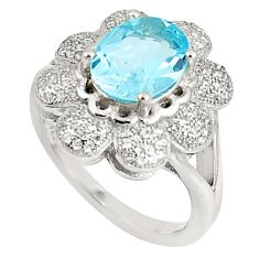 925 sterling silver 6.57cts natural blue topaz white topaz ring size 8 c17967