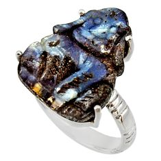 925 silver 17.42cts natural boulder opal carving solitaire ring size 9.5 r30133