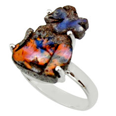 925 silver 11.13cts natural boulder opal carving solitaire ring size 8.5 r30164