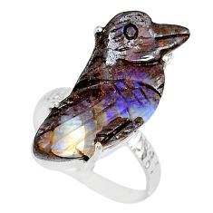 925 silver 15.65cts natural boulder opal carving solitaire ring size 8.5 r79609