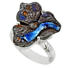 925 silver 14.42cts natural boulder opal carving solitaire ring size 7 r30154