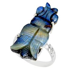 925 silver 13.56cts natural boulder opal carving solitaire ring size 7 r79640