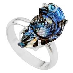 925 silver 10.22cts natural boulder opal carving solitaire ring size 7 t24204