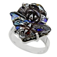 925 silver 20.86cts natural boulder opal carving solitaire ring size 8 r30150