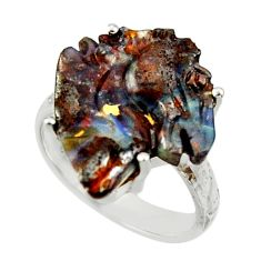 925 silver 12.62cts natural boulder opal carving solitaire ring size 8 r30177