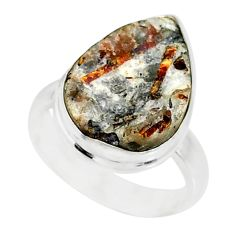 925 silver 9.53cts natural bronze astrophyllite solitaire ring size 6 r85917