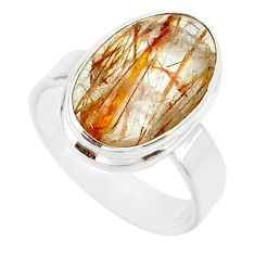 925 silver 6.36cts natural bronze tourmaline rutile solitaire ring size 7 r85297