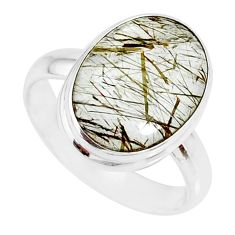 925 silver 8.75cts natural bronze tourmaline rutile solitaire ring size 8 r85311