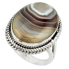 925 silver 16.87cts natural brown botswana agate solitaire ring size 8.5 r28604