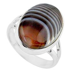 925 silver 13.96cts natural brown botswana agate solitaire ring size 8.5 r95778