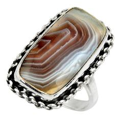 925 silver 15.73cts natural brown botswana agate solitaire ring size 8 r28609