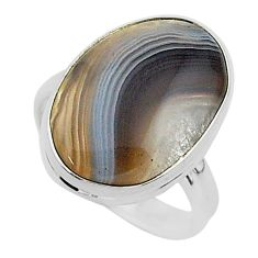 925 silver 13.22cts natural brown botswana agate solitaire ring size 8 r95791