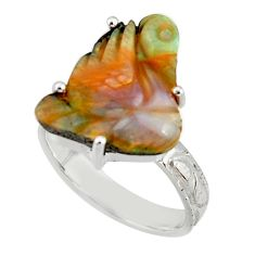 925 silver 12.06cts natural brown boulder opal carving fancy ring size 8 r38352