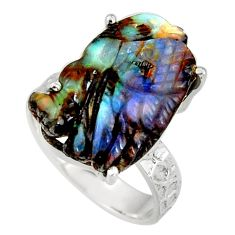 925 silver 14.88cts natural brown boulder opal carving fancy ring size 8 r38360