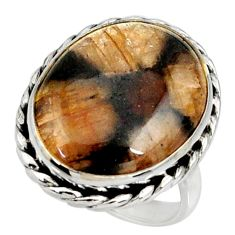 925 silver 16.46cts natural brown chiastolite oval solitaire ring size 7 r28118