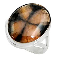 925 silver 16.92cts natural brown chiastolite solitaire ring size 9.5 r28108