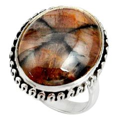 925 silver 16.00cts natural brown chiastolite solitaire ring size 8.5 r28132