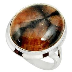 925 silver 19.56cts natural brown chiastolite solitaire ring size 8 r28112