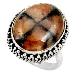 925 silver 19.87cts natural brown chiastolite solitaire ring size 8 r28116
