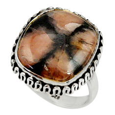 925 silver 13.07cts natural brown chiastolite solitaire ring size 8 r28127