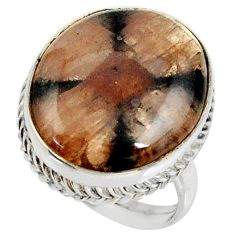 925 silver 18.63cts natural brown chiastolite solitaire ring size 8 r28138
