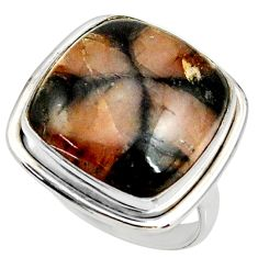 925 silver 18.63cts natural brown chiastolite solitaire ring size 9 r28104