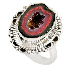 925 silver 6.48cts natural brown geode druzy fancy solitaire ring size 7 r21394