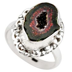 925 silver 6.03cts natural brown geode druzy fancy solitaire ring size 7 r21404