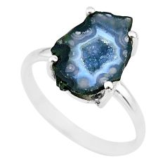 925 silver 4.77cts natural brown geode druzy fancy solitaire ring size 7 t31528