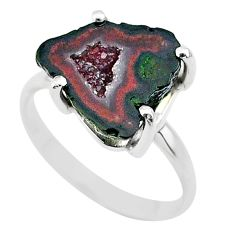 925 silver 5.17cts natural brown geode druzy fancy solitaire ring size 7 t31539