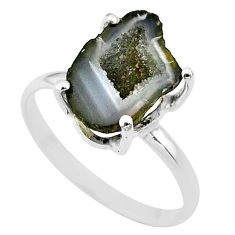 925 silver 5.22cts natural brown geode druzy fancy solitaire ring size 9 t31493