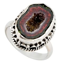 925 silver 7.83cts natural brown geode druzy solitaire ring size 7.5 r21416