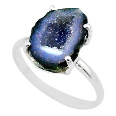 925 silver 5.58cts natural brown geode druzy solitaire ring size 9 t31500