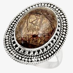 Clearance Sale- 925 silver 10.54cts natural brown mushroom rhyolite solitaire ring size 8 d39071
