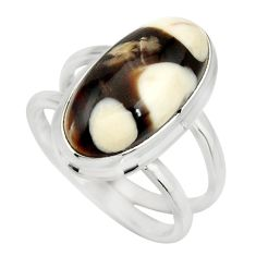 925 silver 6.03cts natural brown peanut petrified wood fossil ring size 7 r27269