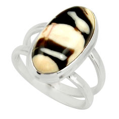 925 silver 5.79cts natural brown peanut petrified wood fossil ring size 7 r27274