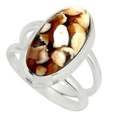 925 silver 6.48cts natural brown peanut petrified wood fossil ring size 7 r27280