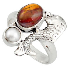 925 silver 4.38cts natural brown pietersite (african) fish ring size 7.5 d46052