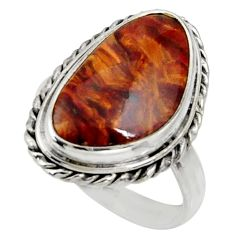 925 silver 10.57cts natural brown pietersite solitaire ring size 8.5 r28184