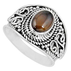925 silver 2.13cts natural brown smoky topaz oval solitaire ring size 7 r57944