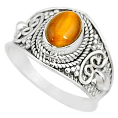 925 silver 1.99cts natural brown tiger's eye oval solitaire ring size 8.5 r81411