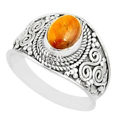925 silver 2.01cts natural brown tiger's eye oval solitaire ring size 7.5 r81417