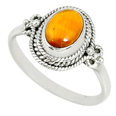 925 silver 1.81cts natural brown tiger's eye oval solitaire ring size 7 r78809