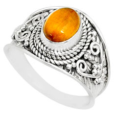 925 silver 2.14cts natural brown tiger's eye oval solitaire ring size 7 r81414