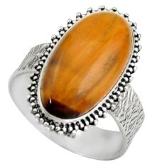 925 silver 8.42cts natural brown tiger's eye oval solitaire ring size 9 d46494