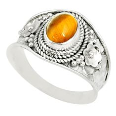925 silver 1.99cts natural brown tiger's eye oval solitaire ring size 9 r81419