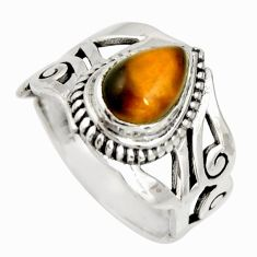 925 silver 2.23cts natural brown tiger's eye pear solitaire ring size 6 r26249