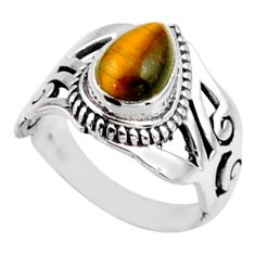 925 silver 2.33cts natural brown tiger's eye pear solitaire ring size 6 r54653