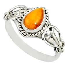 925 silver 2.17cts natural brown tiger's eye pear solitaire ring size 9 r82504