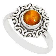 925 silver 1.23cts natural brown tiger's eye round solitaire ring size 9 r82104